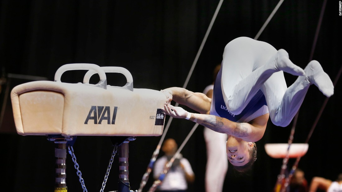 Paul Ruggeri III falls off the pommel horse during the P&G Gymnastics Championships on Sunday, August 16.