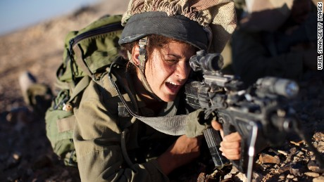 A female soldier from the Israel Defense Forces' Caracal Battalion training in 2010 near the Israeli-Egyptian border.