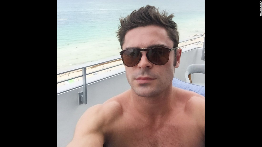 "A shirtless Zac Efron takes a beachside selfie on Saturday, August 15. ""Sup Miami!!"" <a href=""https://instagram.com/p/6bCyulG89c/"" target=""_blank"">the actor said on Instagram.</a>"