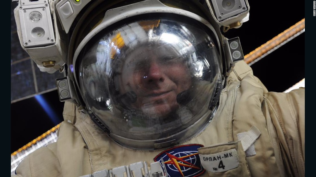 "Cosmonaut Gennady Padalka smiles in this spacewalk selfie <a href=""https://twitter.com/fka_roscosmos/status/633263918463479808"" target=""_blank"">tweeted by the Russian Federal Space Agency</a> on Monday, August 17. He is stationed at the International Space Station."