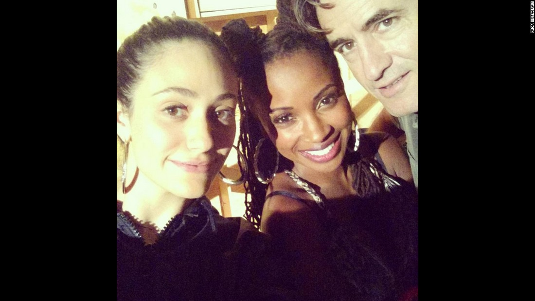 "Actress Emmy Rossum, left, <a href=""https://instagram.com/p/6S0KkKI9Th/"" target=""_blank"">takes a selfie </a>with ""Shameless"" co-stars Shanola Hampton and Dermot Mulroney on Wednesday, August 12."