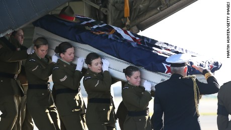 Female pallbearers carry the coffin of Lance Cpl. Jacinda Baker, a New Zealand soldier who was fatally wounded in Afghanistan in 2012.