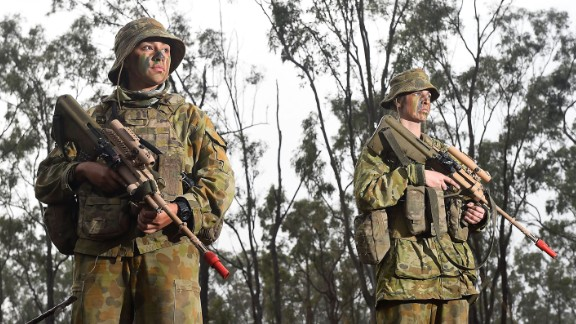 Two Australian female soldiers train this year in their country. Women have been allowed to join special operations units since 2011.