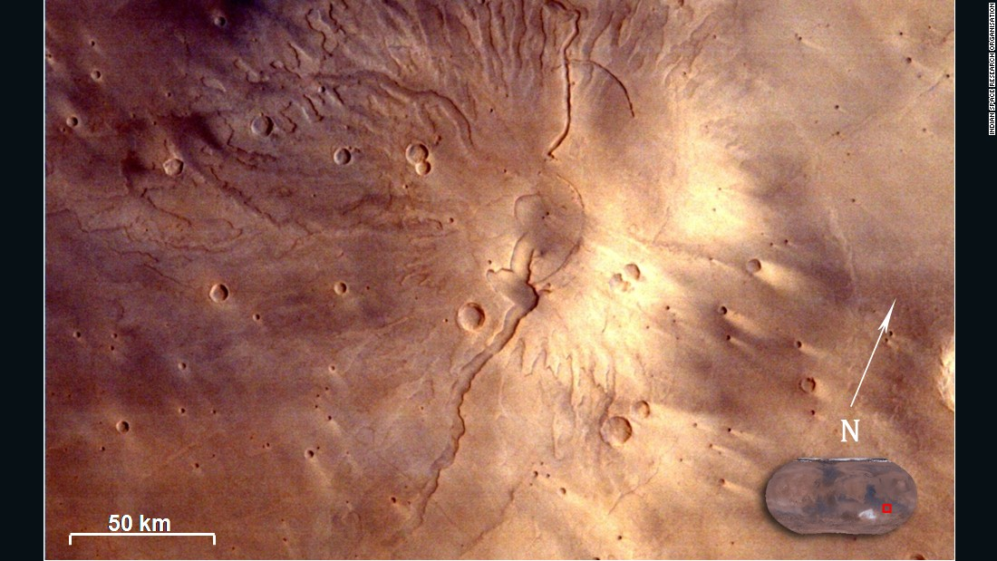 Tyrrhenus Mons, a large Martian volcano, as seen by the Mars Color Camera on board the orbiter.