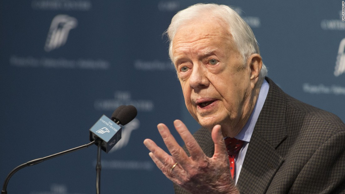"Carter talks about <a href=""http://www.cnn.com/2015/08/20/politics/jimmy-carter-cancer-update/index.html"" target=""_blank"">his cancer diagnosis</a> during a news conference at the Carter Center in Atlanta in August 2015. Carter announced that his cancer was on four small spots on his brain and that he would immediately begin radiation treatment. In December 2015, <a href=""http://www.cnn.com/2015/12/06/politics/jimmy-carter-cancer-free/index.html"" target=""_blank"">Carter announced</a> that he was cancer-free."
