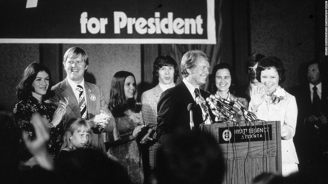 Carter speaks on election night at an Atlanta hotel in 1976.