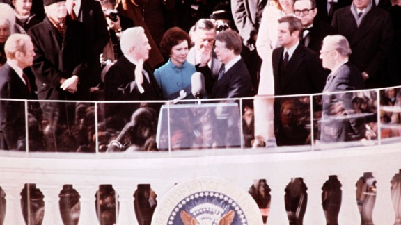 Carter is sworn in by Chief Justice Earl Burger as the 39th President of the United States.