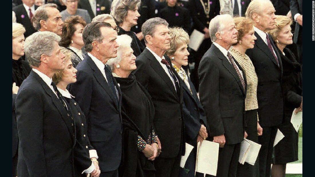 President Bill Clinton, Carter and other former U.S. Presidents stand with their wives during Richard Nixon's funeral in Yorba Linda, California, in April 1994.