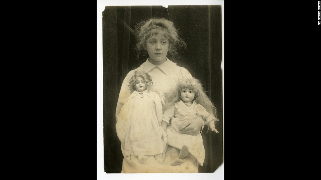 Agatha Christie -- then Agatha Miller -- was born in Torquay, on the southwest coast of England, in 1890. She is seen here with her dolls, Phoebe and Rosalind, in about 1898.