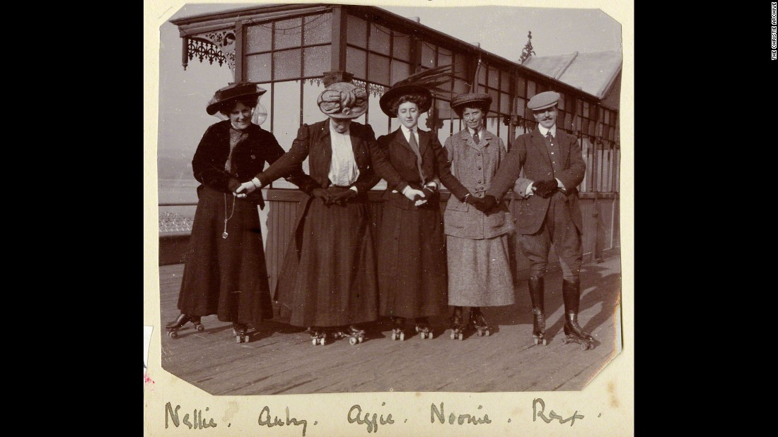 Christie's only grandson, Mathew Prichard, says his grandmother was an extremely modern woman in her youth. Here she is seen (in center) rollerskating with friends on Torquay pier in about 1911.