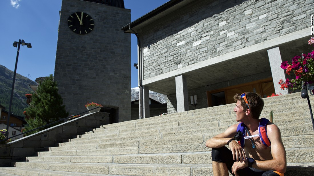 Steindl gets his feet back on the ground in the church square at Saas Fee.