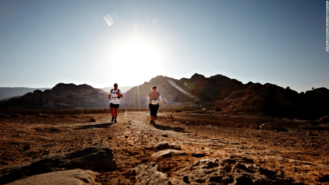 "Here, runners wind their way through Jordan's ancient city of Petra, with the option of a <a href=""http://petra-desert-marathon.com/"" target=""_blank"">full or half marathon. </a>"