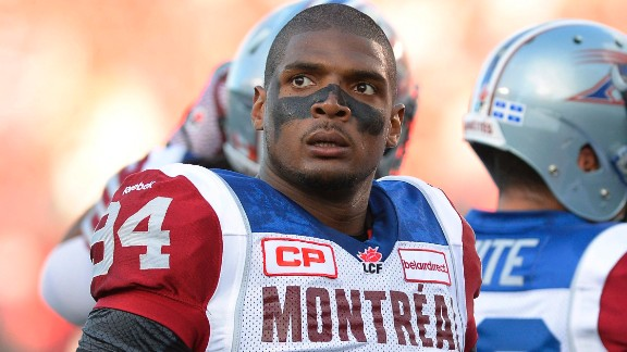 """Michael Sam, the first openly gay player drafted by the NFL, has told the Canadian Football League's Montreal Alouettes that he is leaving the team. He tweeted Friday, August 14: """"The last 12 months have been very difficult for me, to the point where I became concerned with my mental health. Because of this I am going to step away from the game at this time."""""""