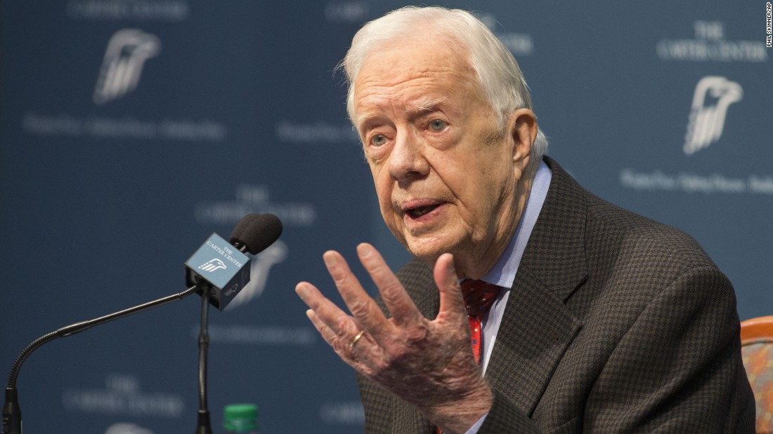 "Former U.S. President Jimmy Carter <a href=""http://www.cnn.com/2015/08/20/politics/jimmy-carter-cancer-update/index.html"" target=""_blank"">talks about his cancer diagnosis</a> during a news conference in Atlanta on Thursday, August 20. Carter announced that his cancer is on four small spots on his brain and he will immediately begin radiation treatment. He said he is ""at ease with whatever comes."" <a href=""http://www.cnn.com/2014/09/30/politics/gallery/jimmy-carter/index.html"" target=""_blank"">See more photos of Carter's life and career</a>"