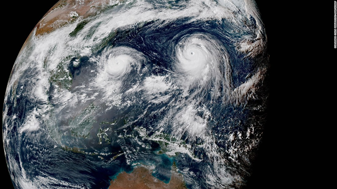 "Two typhoons <a href=""http://www.cnn.com/2015/08/20/world/two-typhoons-pacific-asia/"" target=""_blank"">are seen in the Pacific Ocean</a> on Thursday, August 20. Typhoon Gomi, left, is projected to make landfall, clipping the Philippines, Taiwan and then possibly southern Japan. Super Typhoon Atsani is forecast to spin over open waters, curving well south of Japan, CNN Meteorologist Brandon Miller said."