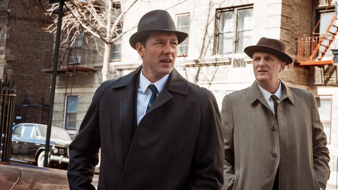 "Ed Burns, left, leads the cast of ""Public Morals,"" premiering at 9 p.m. ET Tuesday on TNT."