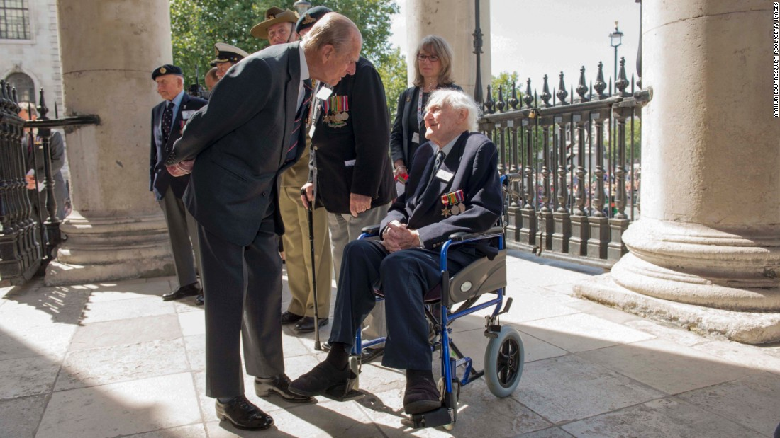 Britain's Prince Philip meets veteran John Dean on Saturday, August 15, during an event in London commemorating the 70th anniversary of V-J Day. The two served on the same ship in World War II.