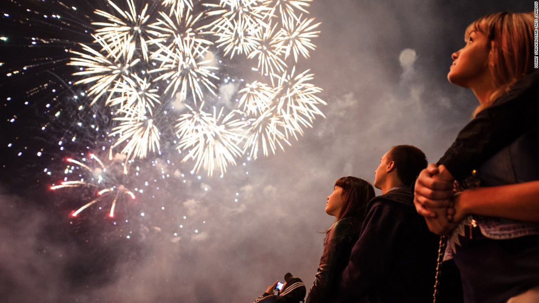 Fireworks go off in Yekaterinburg, Russia, on Saturday, August 15. It was part of Yekaterinburg's City Day celebrations.