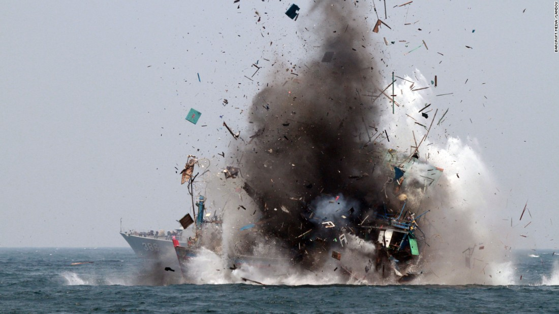The Indonesian Navy destroys a fishing ship with bombs near Lemukutan Island on Tuesday, August 18. According to media reports, Indonesia has sunk foreign boats across the country as part of an ongoing push to stop illegal fishing.
