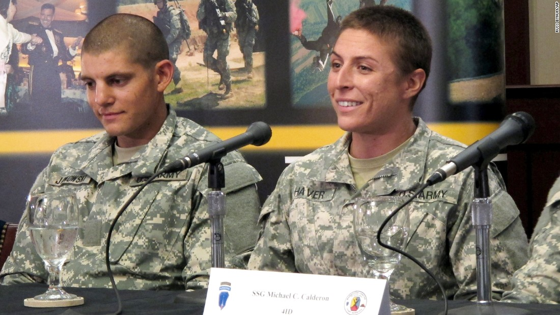 U.S. Army 1st Lt. Shaye Haver, right, speaks with reporters Thursday, August 20, in Fort Benning, Georgia, where she was scheduled to graduate from the Army's elite Ranger School. Haver and Army Capt. Kristen Griest are the first two women to complete the notoriously grueling Ranger course, which the Army opened to women this spring.