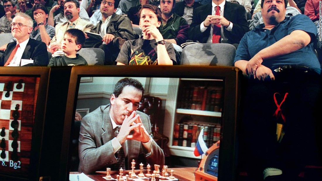 Deep Blue -- a chess-playing computer developed by IBM -- became the first piece of artificial intelligence to win both a chess game and a chess match against a reigning world champion, beating Kasparov in May 1997. Kasparov accused IBM of cheating and demanded a rematch, which IBM turned down and instead chose to retire Deep Blue.