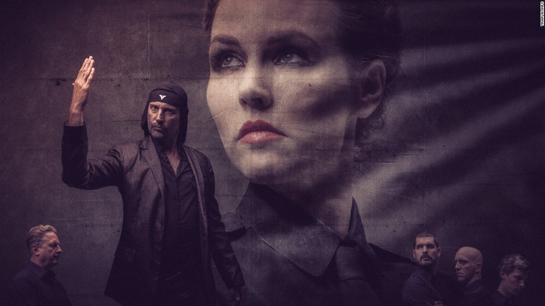 A promotional image shows members of Slovenian band Laibach during their North Korean tour in August, 2015.