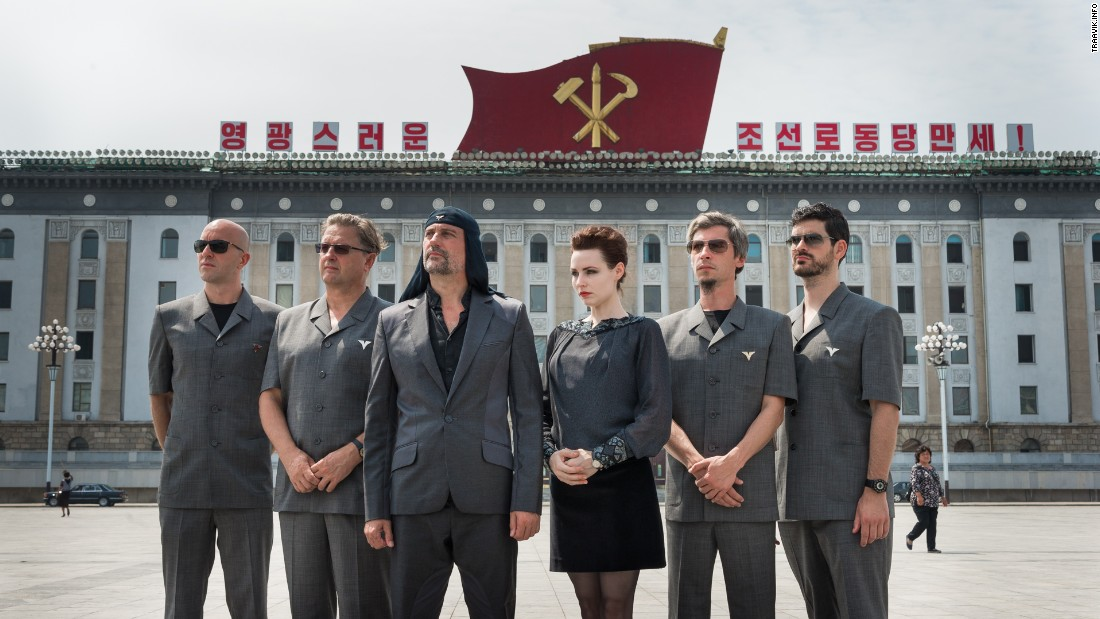 Members of Laibach pose at the Kim Il-sung Square before their performance in North Korea.