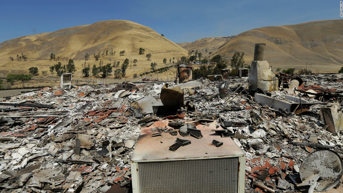 The charred remains of a property is seen in Livermore on August 20.