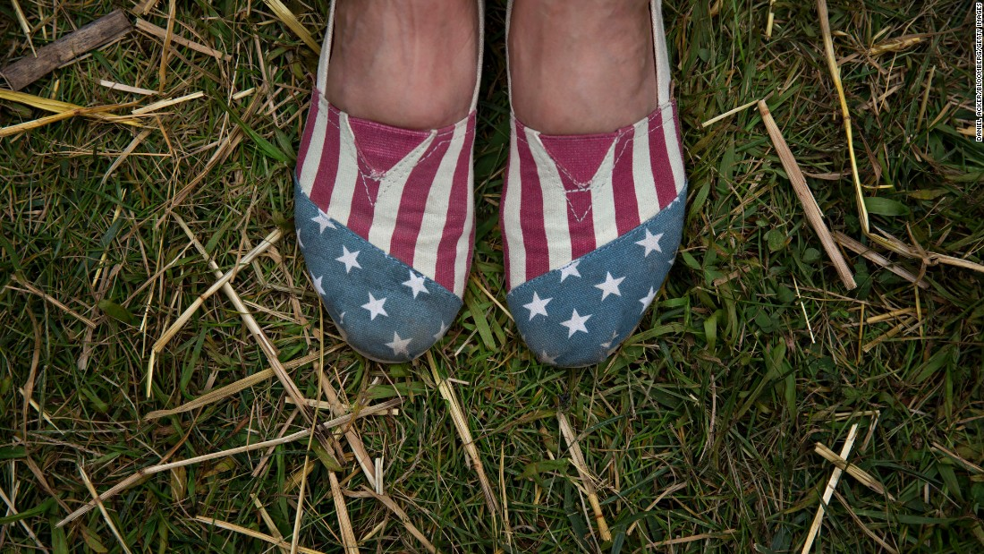 "An attendee of the Iowa State Fair wears American-themed shoes on Monday, August 17. Presidential candidates have a long tradition of making <a href=""http://www.cnn.com/2015/08/15/politics/gallery/iowa-state-fair-postcards/index.html"" target=""_blank"">campaign stops at the fair</a>."