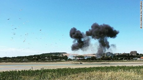 Instagram user @sousanka was at the Shoreham Airshow, UK when a jet crashed, killing up to 20 people Saturday. She shared this photo of smoke rising from the scene.