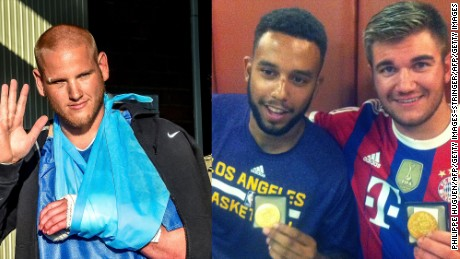 Americans Spencer Stone (from left), Anthony Sadler, and Alek Skarlatos helped tackle a gunman aboard a high-speed train.