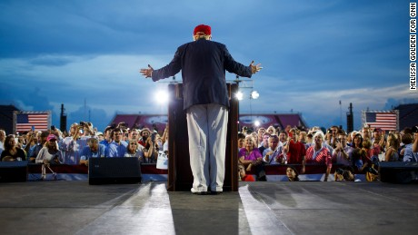 Republican presidential candidate Donald Trump speaks in Mobile, Alabama, on Friday, August 21. Trump brought 30,000 supporters from deep red Alabama to a pep rally in a football stadium, the latest sign that the Republican front-runner has broad, nationwide strength.