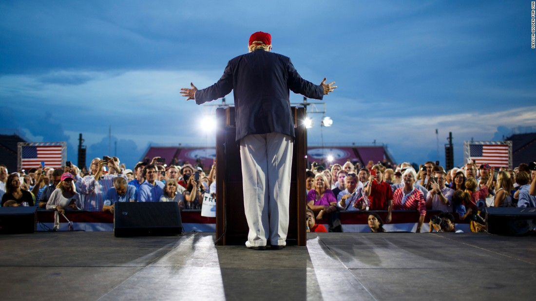 "Republican presidential candidate Donald Trump speaks in Mobile, Alabama, on Friday, August 21. According to the city of Mobile, Trump brought 30,000 supporters from deep-red Alabama to <a href=""http://www.cnn.com/2015/08/22/politics/gallery/trump-rally-alabama/index.html"" target=""_blank"">a pep rally in a football stadium</a>, the latest sign that the Republican front-runner has broad, nationwide strength."