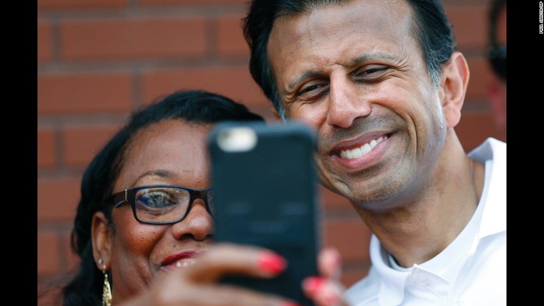 Louisiana Gov. Bobby Jindal, a Republican presidential candidate, poses for a selfie at the Iowa State Fair in Des Moines on Saturday, August 22.