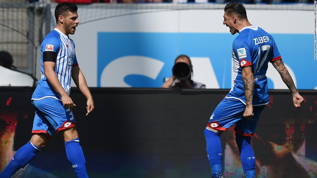 The German champion had gone behind after nine seconds, as  Kevin Volland (left) pounced on a defensive mistake to equal the Bundesliga's fastest goal with his team's first touch of the ball.