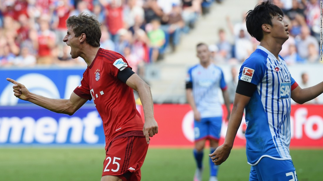 Thomas Muller leveled just before halftime, forcing in the loose ball with his thigh after a cross by Douglas Costa was only parried by Hoffenheim goalkeeper Oliver Baumann.