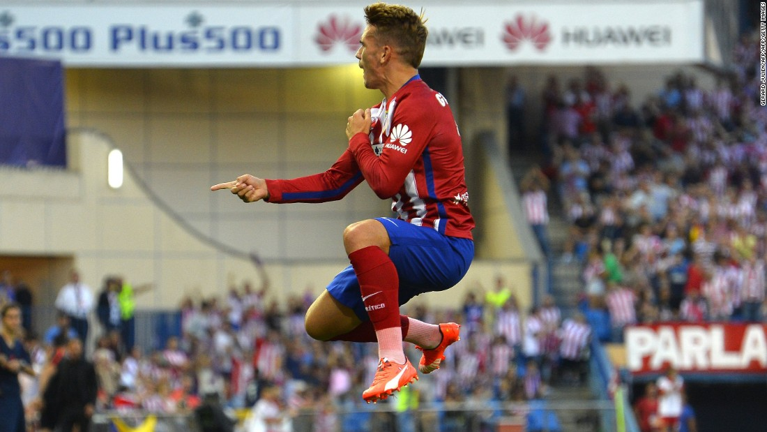 Atletico Madrid kicked off the new Spanish season with a 1-0 victory over promoted Las Palmas. French forward Antoine Griezmann, Atletico's top scorer in 2014-15, celebrates his first-half winner.