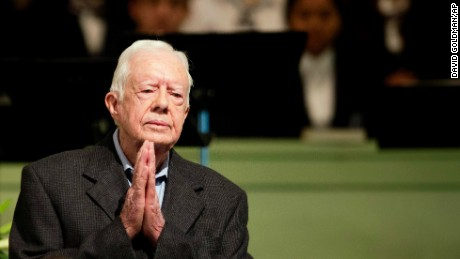 Former President Jimmy Carter teaches Sunday School class at Maranatha Baptist Church in his hometown Sunday, Aug. 23 in Plains, Ga. The 90-year-old Carter gave one lesson to about 300 people filling the small Baptist church that he and his wife, Rosalynn, attend. It was Carter's first lesson since detailing the intravenous drug doses and radiation treatment planned to treat melanoma found in his brain after surgery to remove a tumor from his liver.