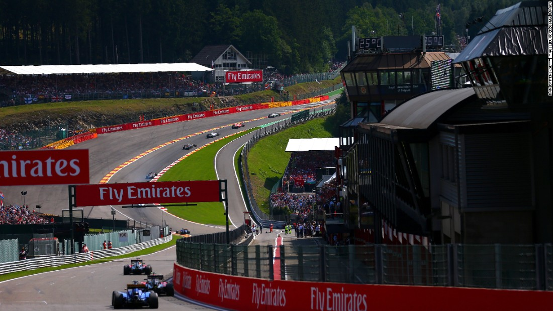 Drivers make their way up l'Eau Rouge during the 2015 Formula One Grand Prix of Belgium at Circuit de Spa-Francorchamps.