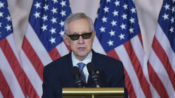 Senate Minority Leader Harry Reid, D-NV, speaks during a Congressional ceremony to mark the 50th anniversary of Vietnam War in the Emancipation Hall of the US Capitol in Washington, DC on July 8, 2015. AFP PHOTO/MANDEL NGAN        (Photo credit should read MANDEL NGAN/AFP/Getty Images)