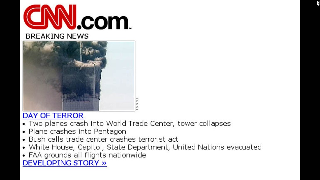 2001: A scaled-down version of the CNN homepage was used for a few hours on September 11 to handle the flood of users seeking information.