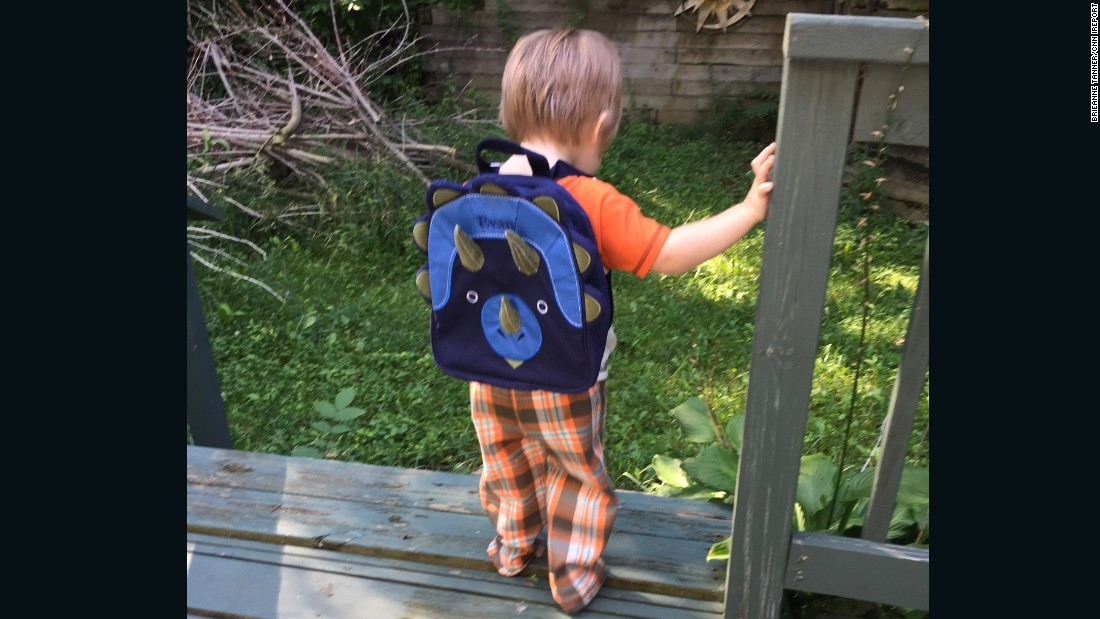 Evan in White Lake, Michigan, is not yet ready for school, but the 2-year-old sure is ready for a backpack! His mom tells us his personalized dino pack contains his own Android tablet for kids as well as crayons and a sketchbook.