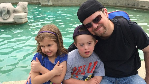 David Perry with his children, Elisabeth (6) and Nicholas (8).
