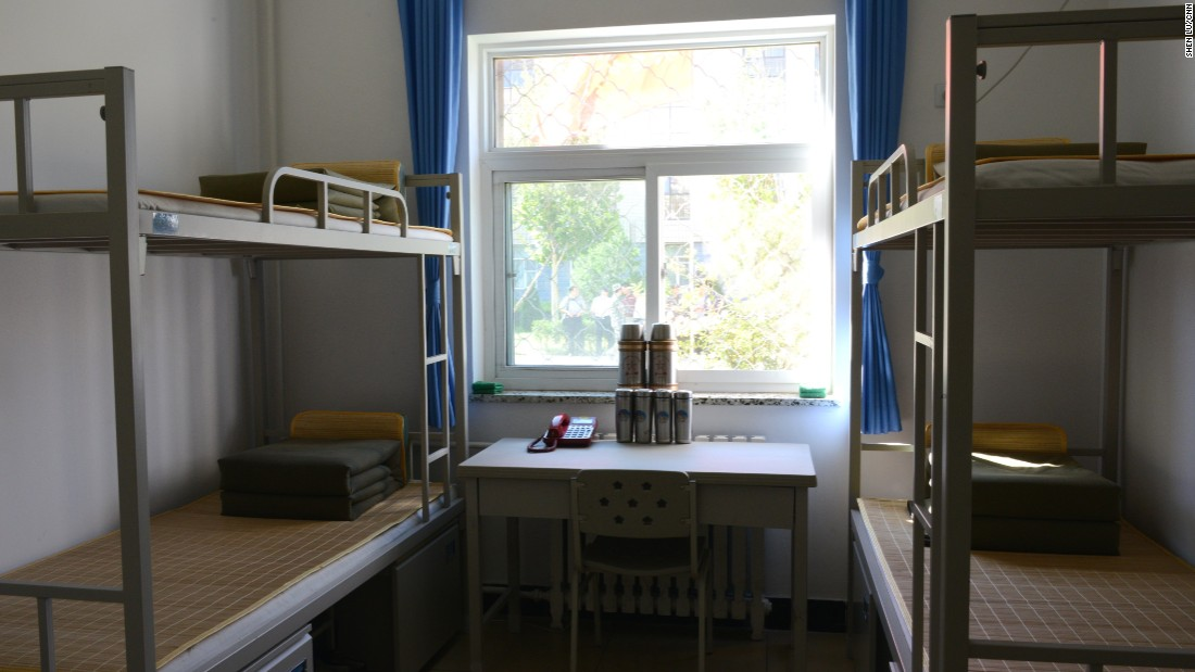 During the rehearsal, reporters were also given rare access to a military training base in Beijing. A dorm room is pictured here.