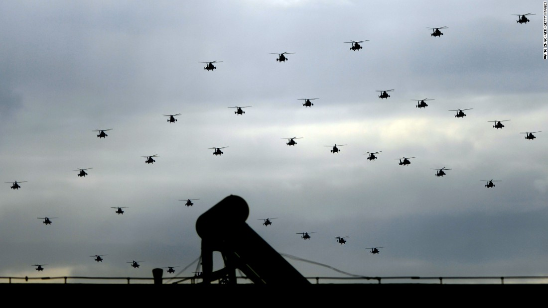 Chinese military helicopters dot the sky  on August 23. According to state news agency Xinhua,  a total of 12,000 troops, 500 pieces of equipment, and nearly 200 aircraft will be shown on September 3.