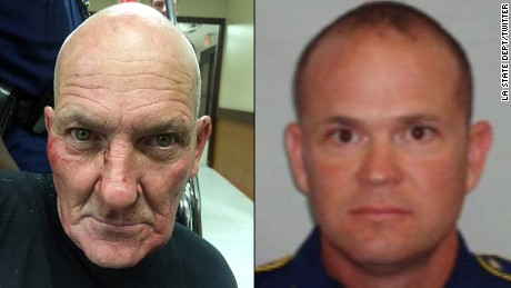 Kevin Daigle, left, and LA State trooper Steven Vincent, right