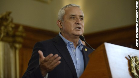 Guatemalan President Otto Perez Molina speaks during a press conference at the presidential residence in Guatemala City on April 17, 2015.