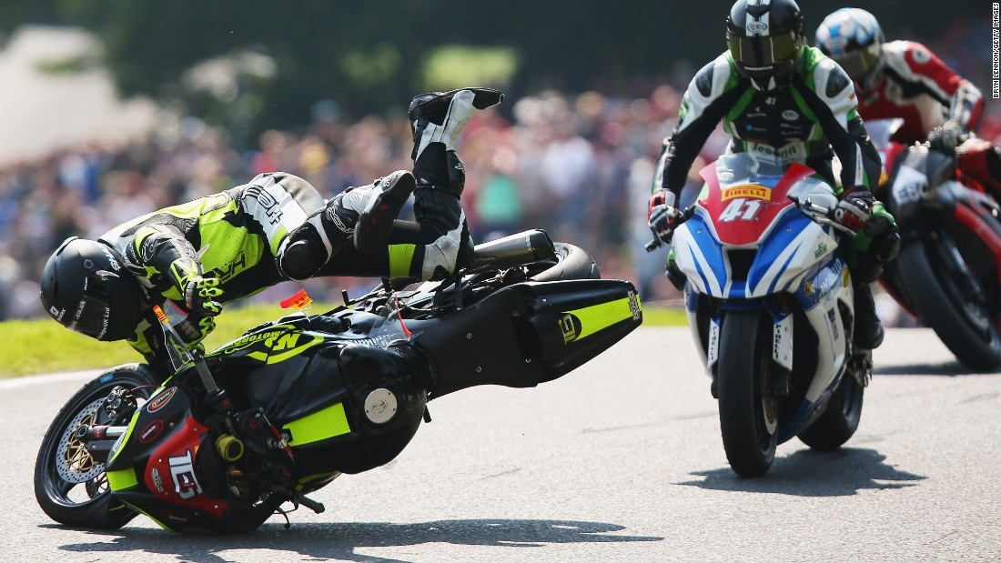 Ben Godfrey crashes during a British Superbike race in Louth, England, on Sunday, August 23.