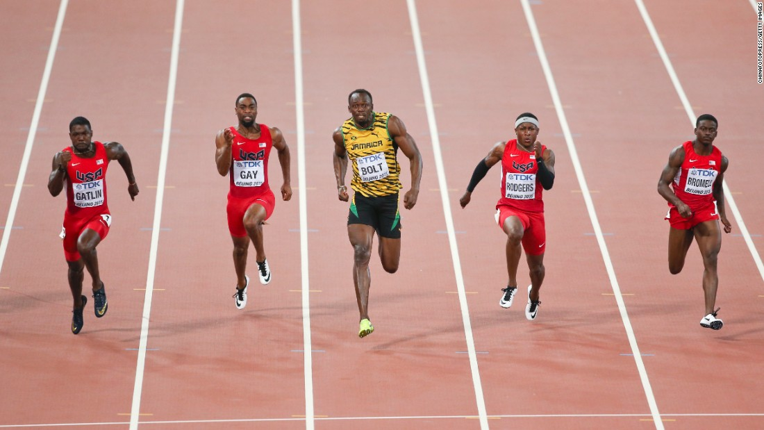 "Jamaica's Usain Bolt speeds past four American sprinters on his way to <a href=""http://www.cnn.com/2015/08/23/sport/world-athletics-championship-gatlin-bolt/"" target=""_blank"">winning the 100-meter dash</a> Sunday, August 23, at the World Championships. Bolt, a two-time Olympic champion in the event and its world-record holder, edged Justin Gatlin with a time of 9.79 seconds."
