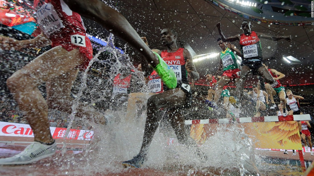 Kenya's Ezekiel Kemboi, top right, leaps over an obstacle Monday, August 24, on his way to winning the 3,000-meter steeplechase at the World Championships. Kemboi has dominated the event since 2009, winning gold at the past four World Championships. He also won Olympic gold in 2012.
